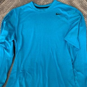 Blue Nike dry fit long sleeve shirt size L